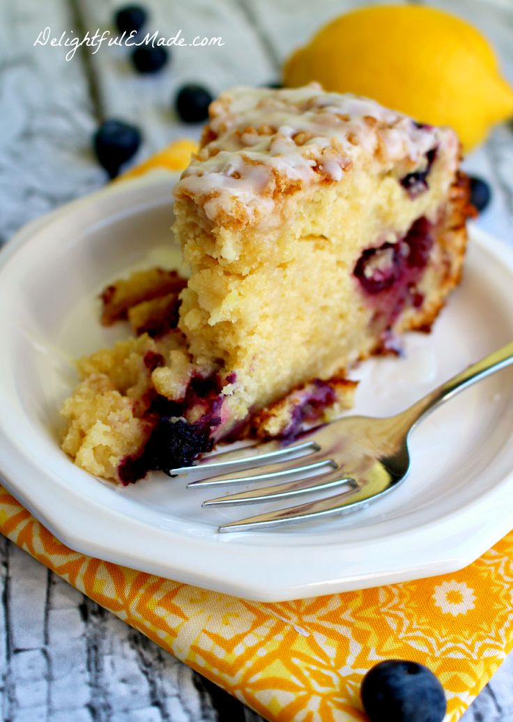 Lemon Blueberry Coffee Cake by DelightfulEMade.com