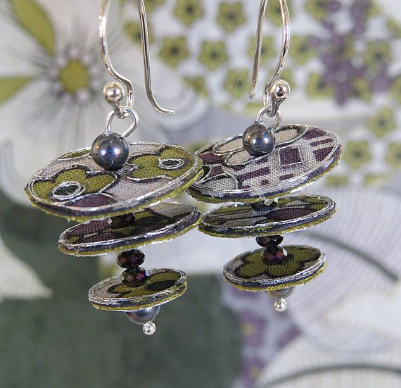 Purple & Green floral textile earrings discs and by ArtOfTextile
