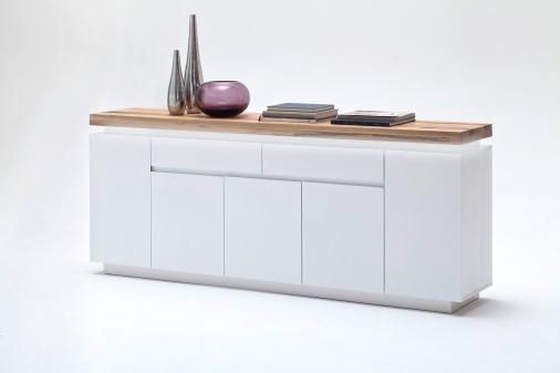 Sideboard Weiss Matt/ Wildeiche Massiv Woody 41-02038 Holz Modern