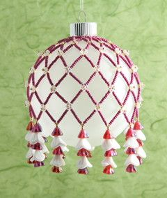 Picture of KT9006, Bead Kit Ornament Cover With Czech Flowers - lots of ornament cover design kits (various prices)