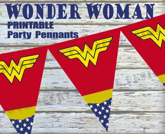 INSTANT DOWNLOAD Printable Wonder Woman Party Banners / Pennants by OurSecretPlace on Etsy, $4.99 Make a big SPLASH with little $$$ at your Superhero Themed Birthday Party by printing your own party decorations and making them yourself. Do It Yourself Printable party banner will make a big impact for little $$$. Coordinates with the Wonder Woman Party Set. Also available in other Superheros.