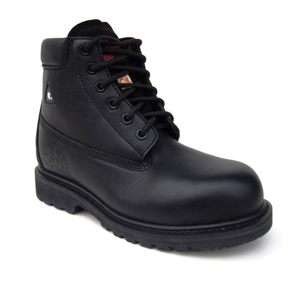 Betsy Xtreme BLACK Reg. $139.99 - Now $40.00 Full-grain leather upper Metal free Spanco anti-bacterial lining Removable dual density PU insole Lightweight composite toe Flexible composite plate Genuine goodyear welt construction ANTI-SLIP and oil-resistant rubber outsole CSA approved Grade 1 Meets or exceeds ASTM 2413-05 requirements