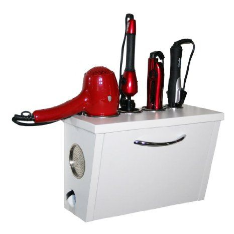 Amazon.com - Curling Iron, Blow Dryer, and Flat Iron Holder - Wall Mount (White) - Closet Storage And Organization Systems
