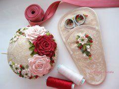 Needlework set (pin cushion and scissors case). Handmade by Natalia Silaeva (Ukraine). Игольницы от Силаевой Натальи (Украина)