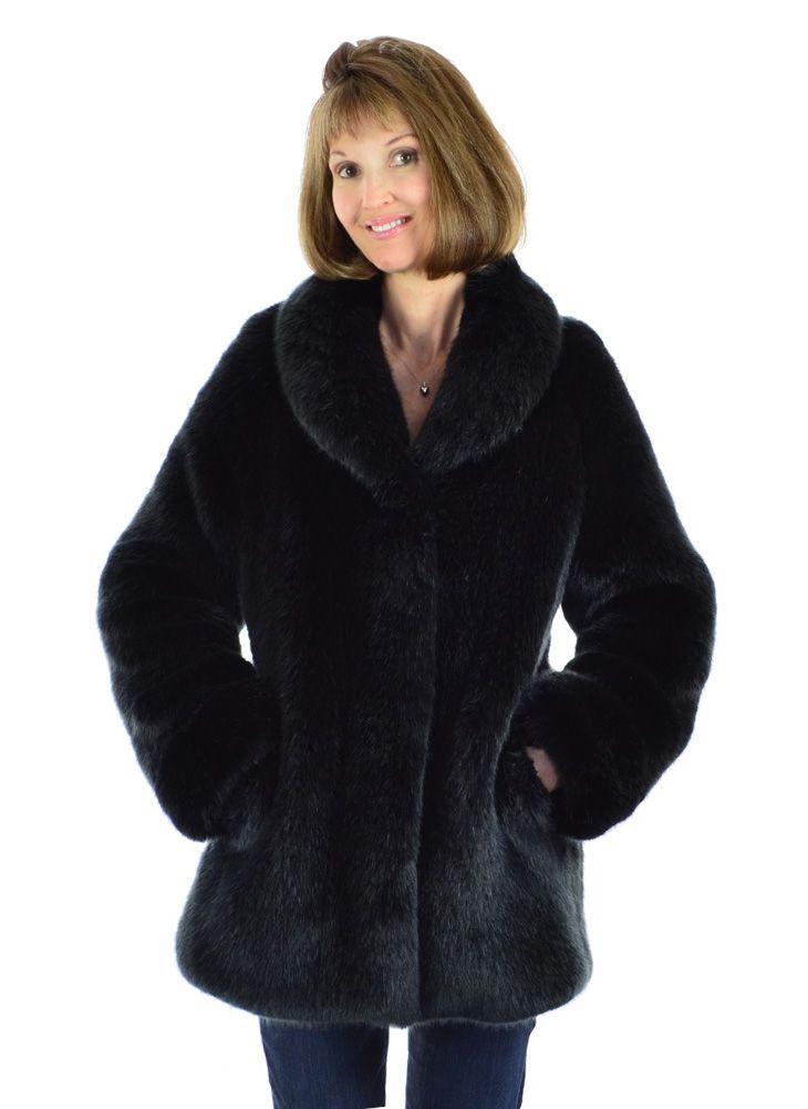 Black Fox Faux Fur Coat by Silk & Sable