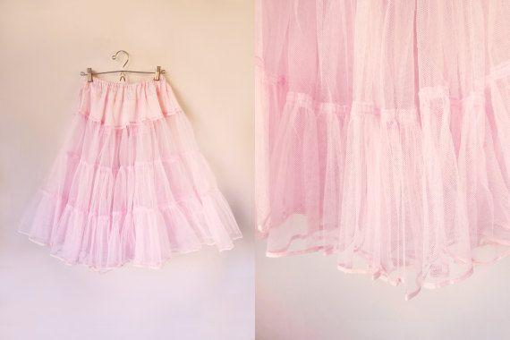 vintage 50s/60s pink tulle petticoat by starseedvintage on Etsy
