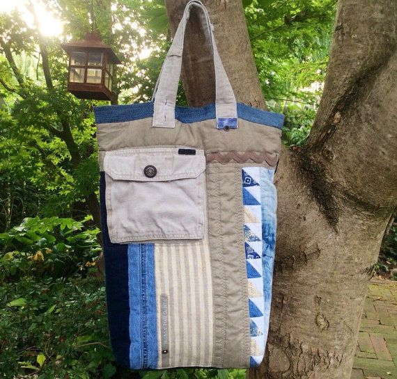 Linen tote, Linen patchwork tote, Large patchwork quilted bag, Denim and linen purse