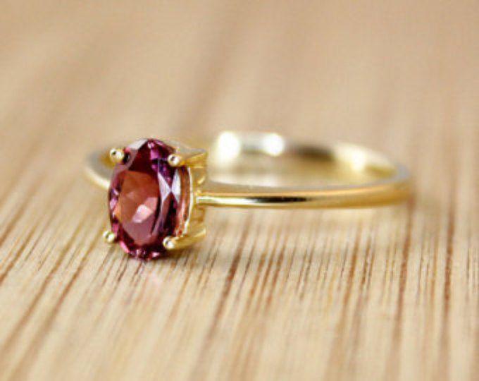 Natural Pink Tourmaline Ring - Engagement Ring - Silver, Gold