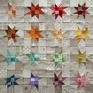 wonky stars---love the taupe scrappy backgrounds