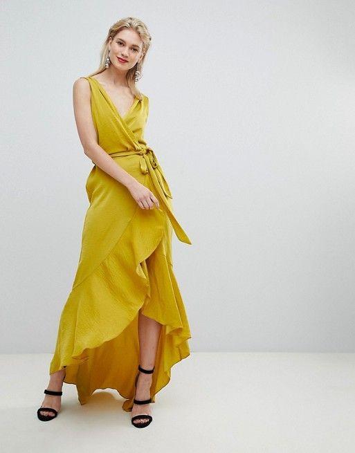 6fbf7e0afc Flounce London wrap front satin maxi dress