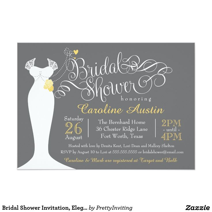 17 best images about grey yellow wedding shower on for Designer bridal shower invitations