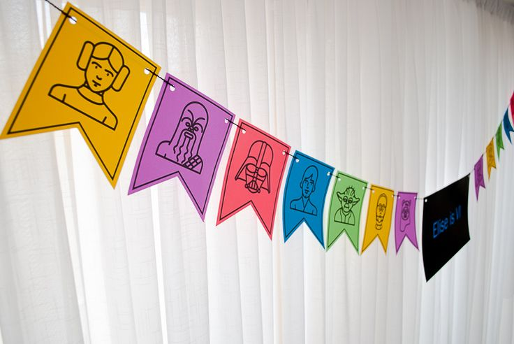 Star Wars Printable DIY Birthday Banner Bunting - in Lightsaber colors! How cute is this for a Star Wars birthday party?