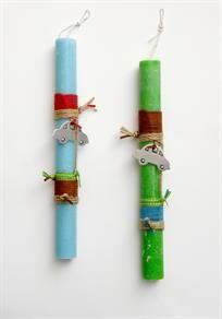 lb3079 {14,90 €} λαμπάδες από χονδρό χειροποίητο αρωματικό κερί (άρωμα ocean) με ανόμοια σχοινιά και σουέντ και μεταλικά στοιχεία
