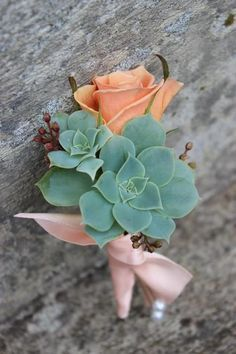 tiffany blue and coral wedding.  Succulent and peach rose corsage or boutonniere.