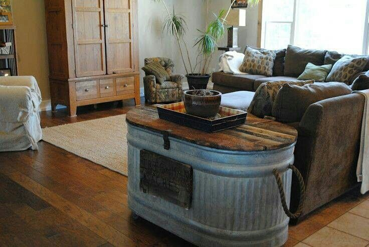Stock tank, table and storage | Cabin ideas | Pinterest ...