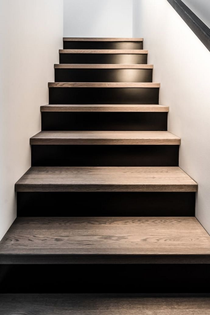 Black wood stair design house stairs stair risers - Interior stair treads and risers ...
