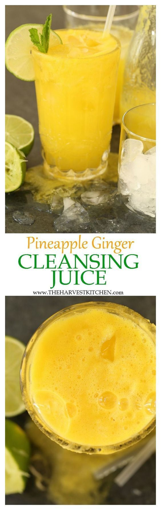 This Pineapple Ginger Cleansing Juice is rich in antioxidants and helps to aid digestion, and gently cleanse and alkalize the body.   detox drink     liver cleanse     pineapple ginger detox drink     healthy recipes  