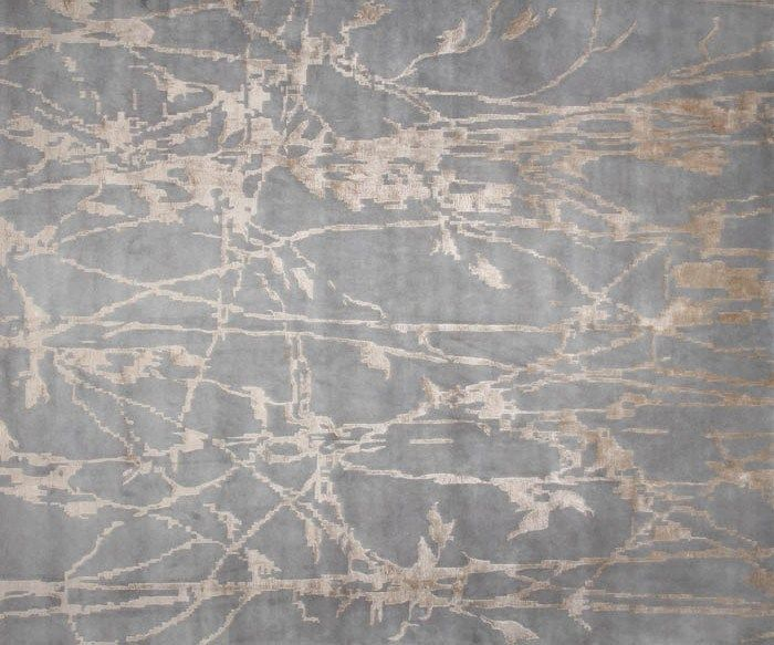 Contemporary style handmade rectangular silk rug SHETLAND grey Inspiration Collection by EDITION BOUGAINVILLE