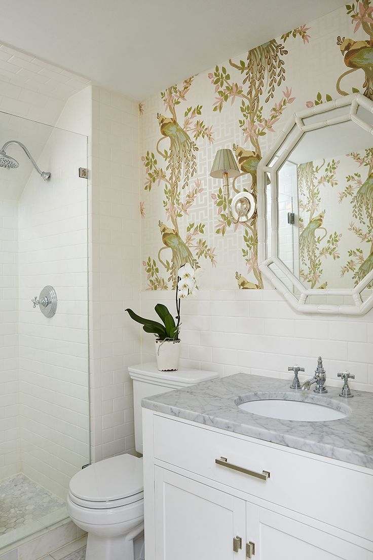 365 best images about bathrooms on pinterest powder room for Best wallpaper for bathrooms