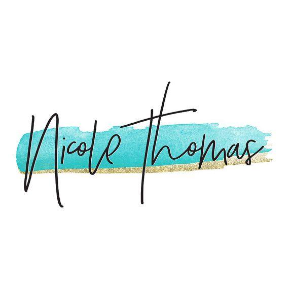 Turquoise Watercolor Gold Glitter Signature Logo Blogger Logo Design Youtube Makeup Artist Logo Beauty Blog Photography