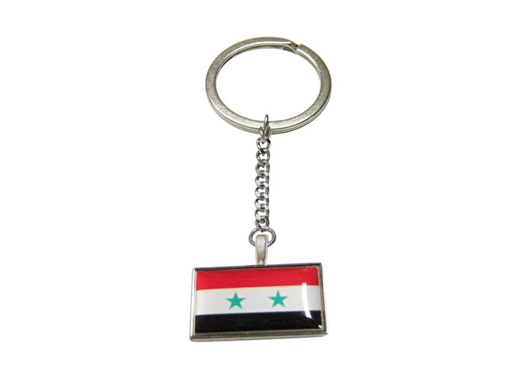 Thin Bordered Syria Flag Pendant Keychain