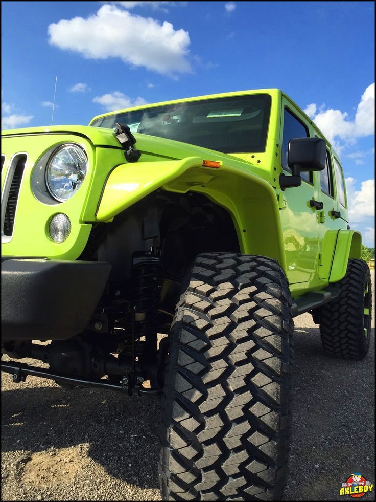 """Hyper green"" 2016 Jeep Wrangler on a 3"" Teraflex lift, 37"" Nitto tires, stubby front bumper and Bushwacker flat fenders"