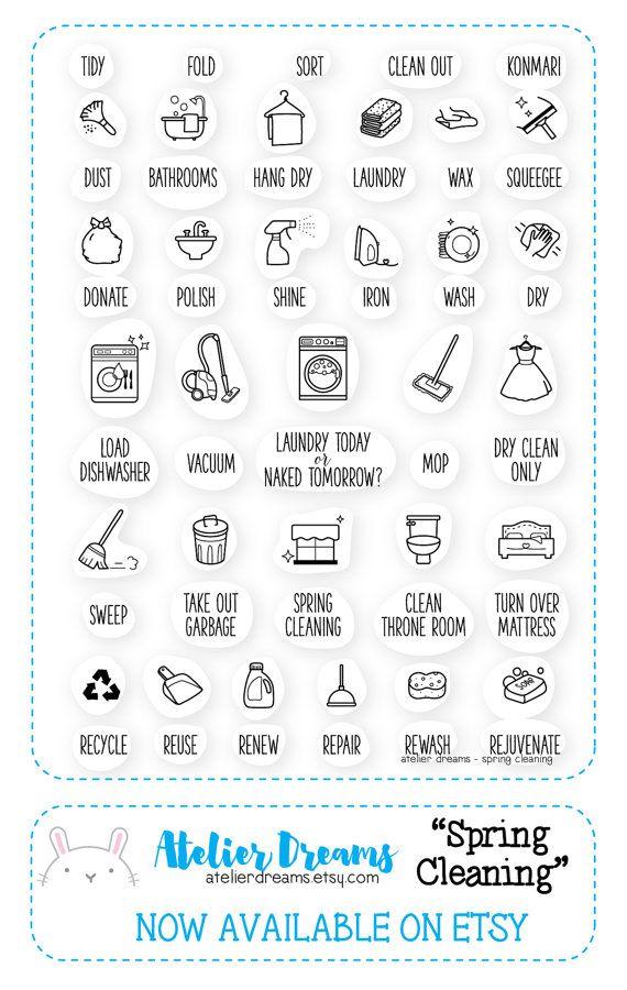 BESTANDSERINNERUNG PREORDER Frühling Reinigung - Planner-Briefmarken (klare Photopolymer-Stempel) Wäscheservice Stempel, Reinigung, Stempel, Hausarbeit, Frühjahrsputz