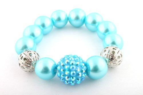 Ladies Light Blue Pearl Style with 1 Disco Ball & 2 Hollow Balls Shamballah Stretch Bracelet JOTW. $0.01. 100% Satisfaction Guaranteed!. Great Quality Jewelry!