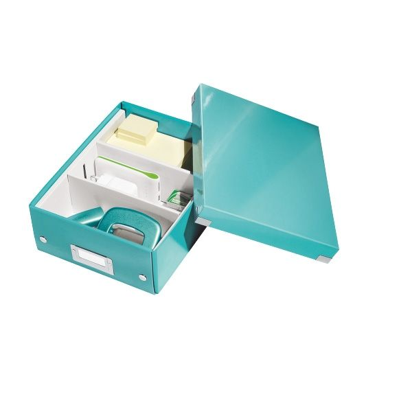 Leitz 6057 WOW kleine sorteerdoos ijsblauw metallic     De metallic ijsblauwe Leitz WOW Click & Store sorteerdoos heeft diverse vakken voor het opbergen van kleine spullen, zoals bureau-accessoires. De vakindeling is flexibel, u kunt naar wens 2 of 3 vakken creëren. De inklapbare opbergdoos is voorzien van label voor het specificeren van de inhoud.
