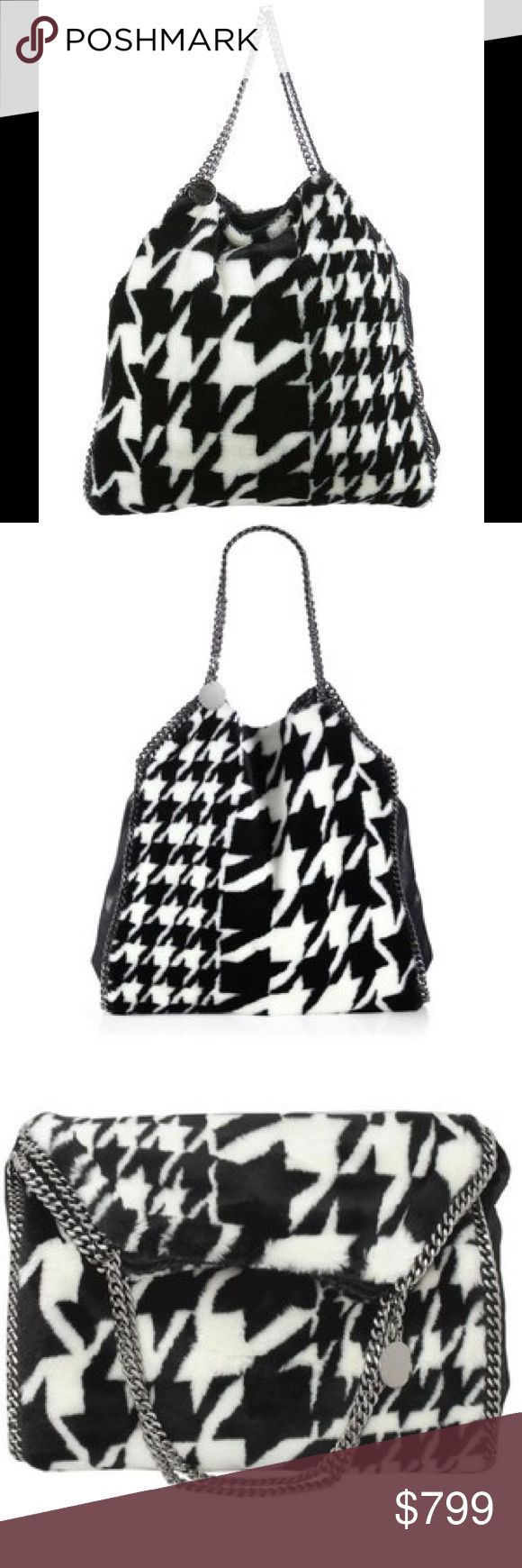 "Stella McCartney Faux Fur Falabella Tote Falabella Faux Fur Houndstooth Shoulder Bag Chic chain shoulder straps and edging with whipstitched detail accent this faux fur design in an exploded houndstooth pattern with faux leather trim. Double chain shoulder strap, 9"" drop Open top with magnetic snap closure One inside zip pouch, attached One inside zip pocket One inside open pocket Fully lined 16""W X 19""H X 5""D. Fur type: Faux Made in Italy. - Color: Black-White  $1395 retail  Comes with…"