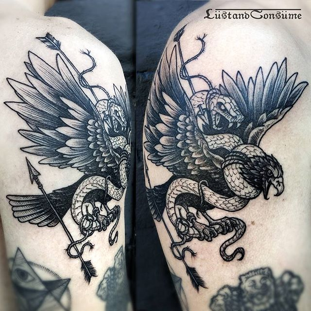 ➕ Black Eagle White Snake ➕ Thank you Carlo. Black Diamond Tattoo Los Angeles…