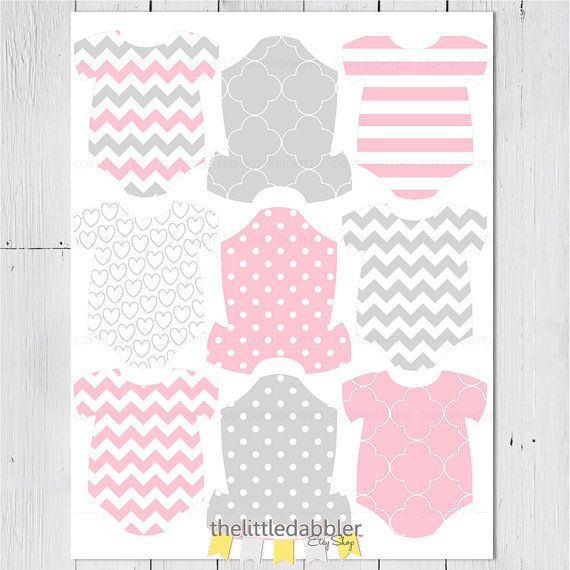 Pink Grey Mini Baby Shower Onesie Tags -- Baby Shower One