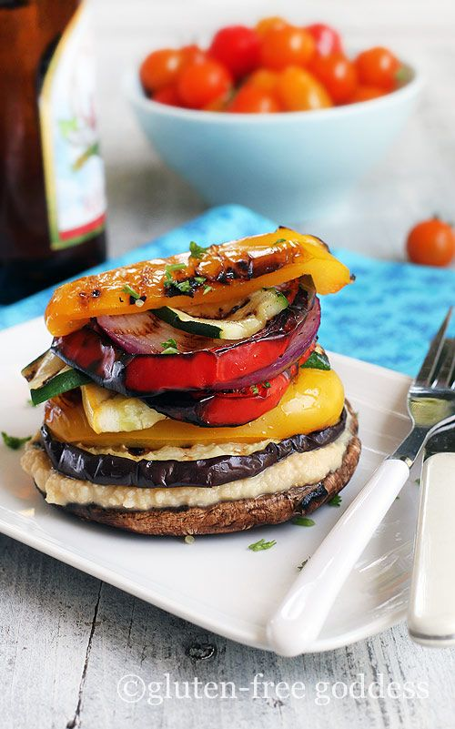 Grilled Vegetable Stack with Homemade Lemon Hummus - Gluten-Free and Vegan