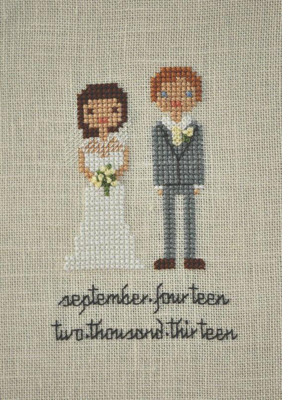 Custom Wedding Cross Stitch Portrait by XStitchaDay on Etsy