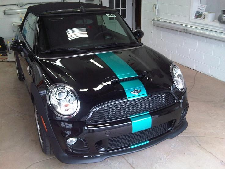 Mini Cooper S custom stripe at ClearAutoBra.com
