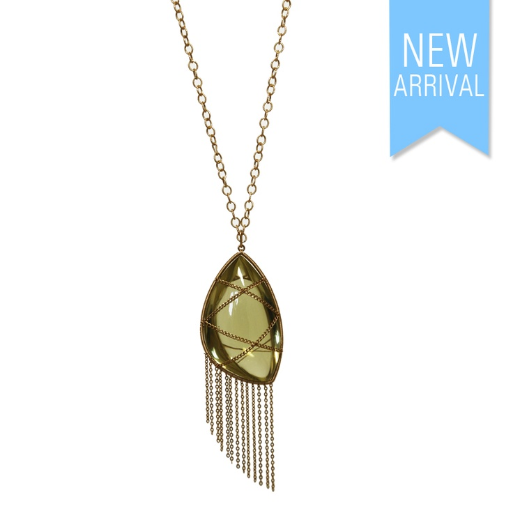 Necklace Yellow Gold with Lemon Quartz Pendant #Necklace #NewArrivals #GinaAdornments