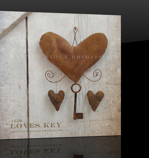 Primitive E-pattern, Hearts Valentine Instant Download Sewing Pattern Loves Key by Walnut Ridge Primitives #156