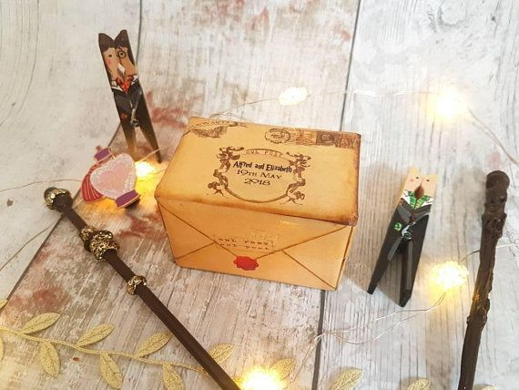 Harry Potter Inspired Owl Post Wedding Ring Box • Personalised Double Ring Box • Wizard Engagement • Alternative Wedding
