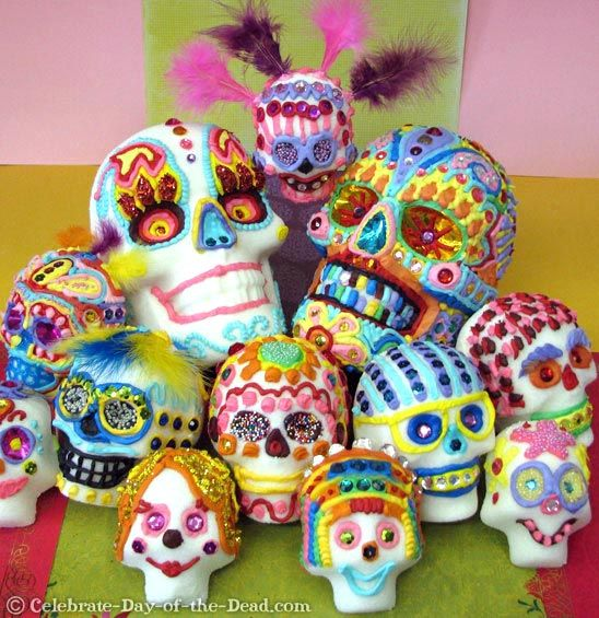 beautifully decorated sugar skulls