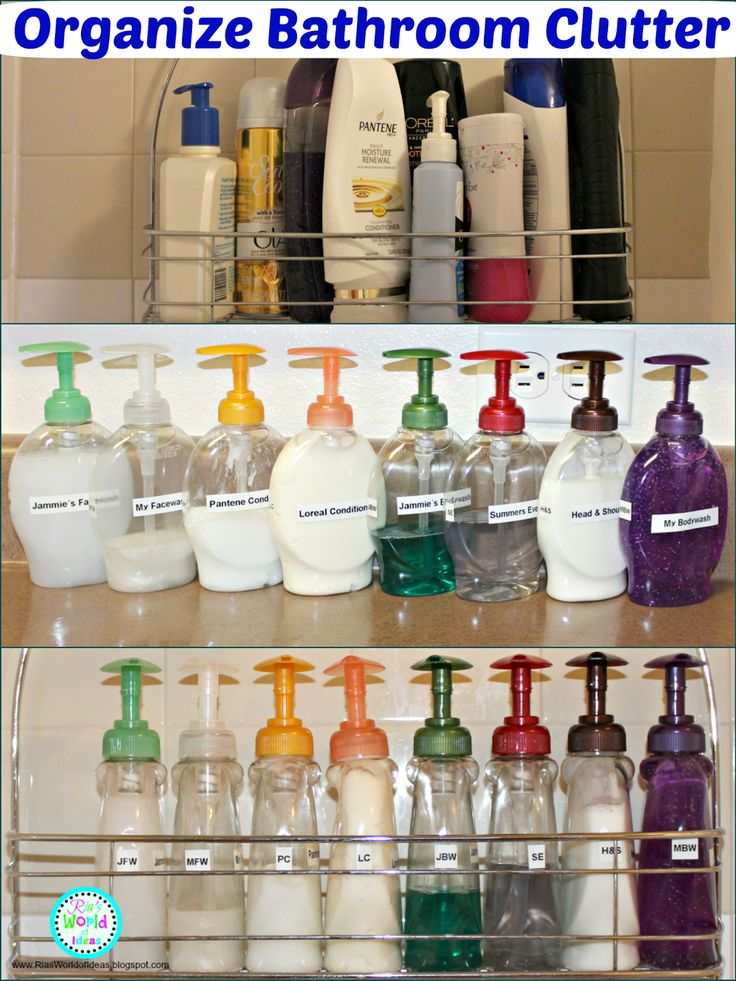 Do you ever get frustrated with all the bottles that you have in your shower that are hard to squeeze the contents out of them especially when they are wet? I was, so I decide to come up with a way to ORGANIZE MY BATHROOM CLUTTER in my shower and make it easier for me to get the content I wanted by REUSING some empty hand soap bottles.  Ria's World of Ideas: Organize Bathroom Clutter