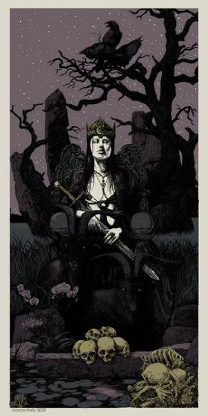 """The Morrigan - Shape-shifting Celtic goddess of War, Fate and Death. She is also called the """"washer at the ford"""" because if a warrior sees her washing her armor in the stream, it means he will die that day. The Morrighan often appears in the form of a crow or raven or is seen accompanied by a murder of them. In the Ulster cycle, she is shown as a cow and a wolf too."""