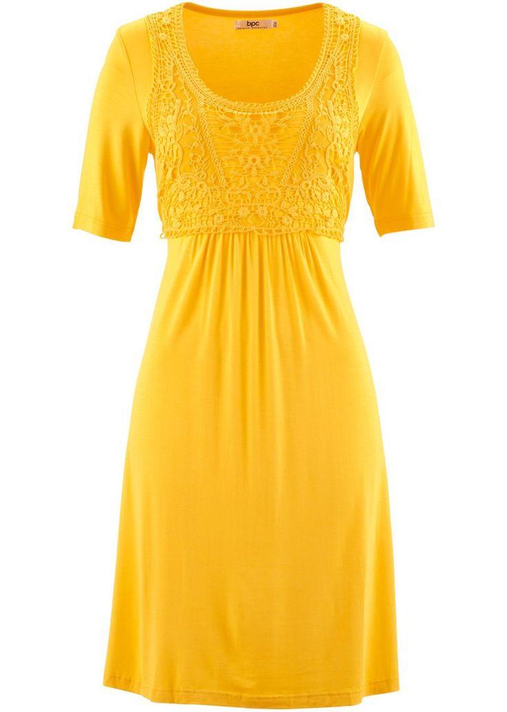 Sukienka z koronkową wstawką, krótki rękaw • 79.99 zł • bonprix