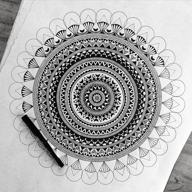 """""""I'm standing on a chair with one foot on the table......there's got to be easier ways of getting a good picture! #draw #drawing #doodle #doodling #doodleart #mandala #pattern #design #paper #pen #artline #black #ink #tattoo #art #myart #beautiful_mandalas #boho #gypsy #hippie #hippy #inspired #wip #sketch #"""" Photo taken by @pixichikjb on Instagram, pinned via the InstaPin iOS App! http://www.instapinapp.com (10/16/2015)"""