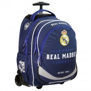 Sac à roulettes 47 CM Real Madrid Blue Haut de gamme - 2 cpt - Cartable