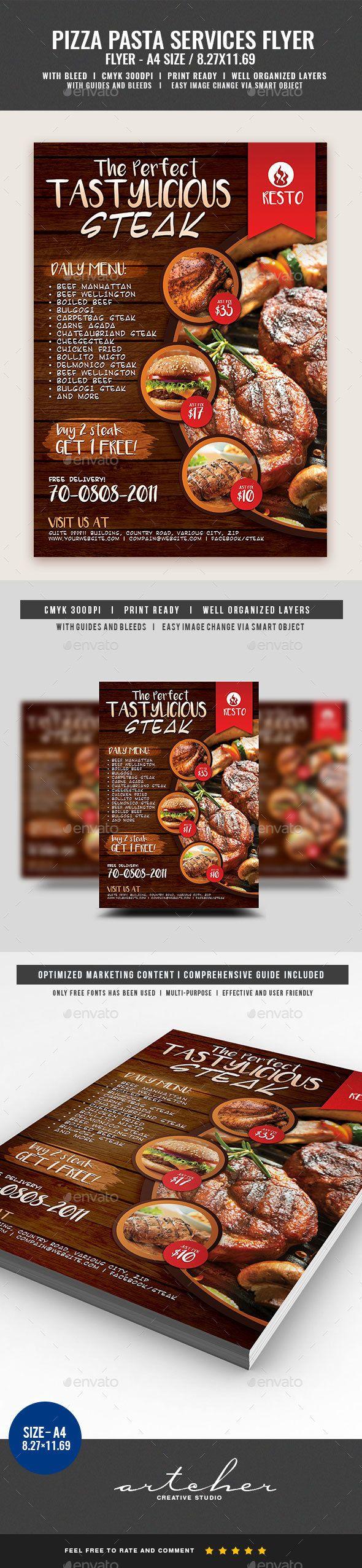 restaurant fast food steak flyer
