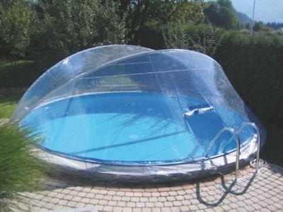 Halten Sie Ihren Swimmingpool frei von Laub und etwaigen Verschmutzungen mit Hilfe der Cabrio Dom Schwimmbeckenabdeckung 3,6/3,7m BH.