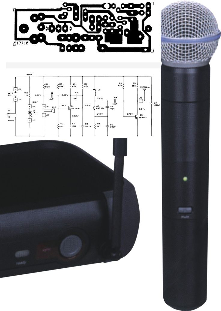 wireless UHF microphone schema layout Transmitter in