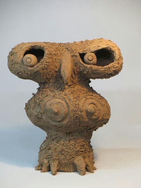 """SHE - OWL""       ceramic                                                 by Klaus Dusselberg"