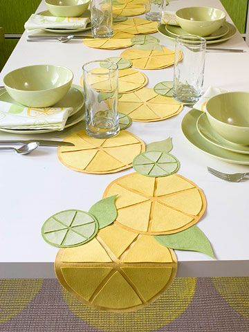 Line the Table - Cute table runner idea with no sewing and a 3-D effect.