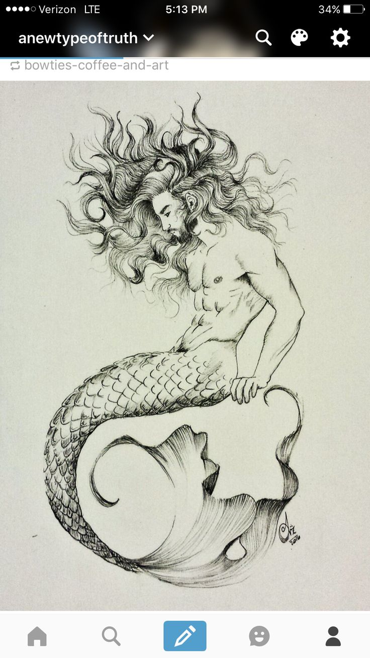 Merman Tattoo, a little thicker tail and he would match my mermaid perfect! Deep oranges, yellows, greens for the tail possibly